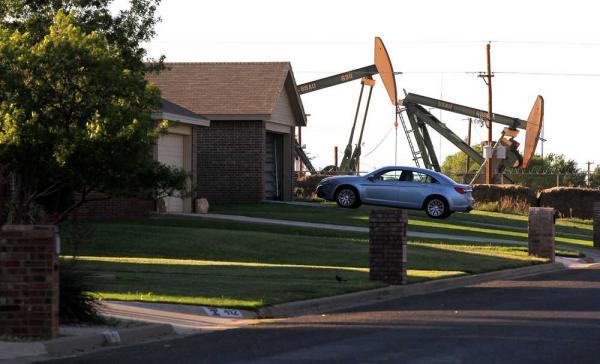 Oil rigs near residential area